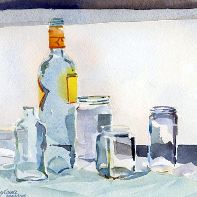 Blue, Green & Clear Glass On White - watercolor still life by Tony Conner