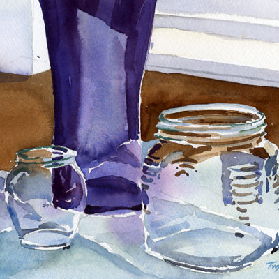"""Honey & Fig Jars on Table"" - original watercolor still life painting by Tony Conner"