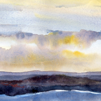 """Morning Sky From Hogback Mountain"" - original watercolor plein air watercolor painting by Tony Conner"