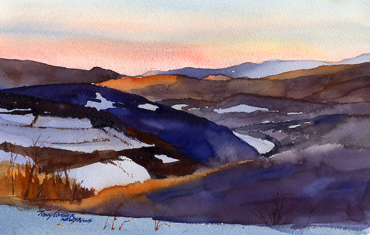 """The Pownal Valley"" – watercolor plein air landscape painting"