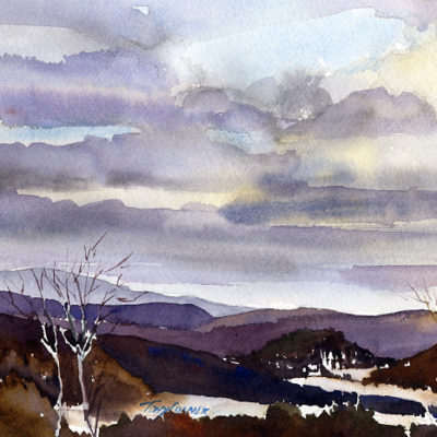 """""""Changing Sky, Pownal Valley"""" - original watercolor plein air watercolor painting by Tony Conner"""