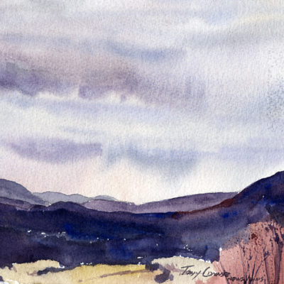 """Post Winter Blues"" - original plein air watercolor painting by Tony Conner"