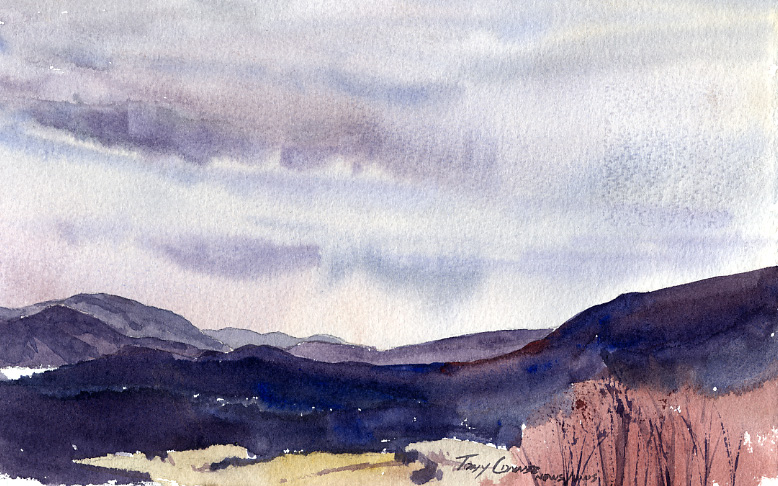 """Post Winter Blues"" – clouds and sun in early spring en plein air watercolor landscape painting"