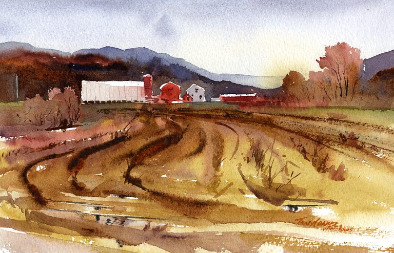 """Rt.30 Farm"" – Watercolor Landscape Painting"
