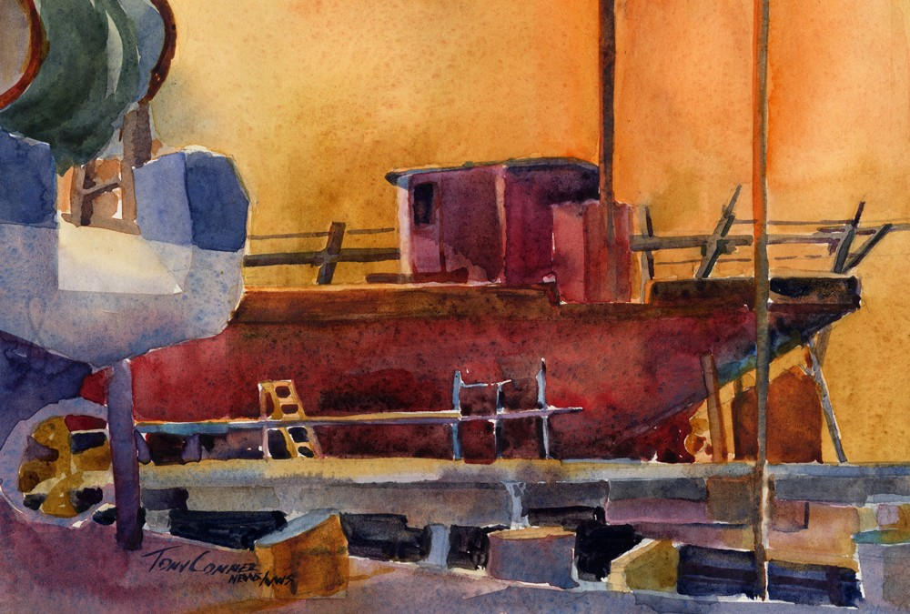 """Drydock After Hours"" – Watercolor Plein Air Painting"