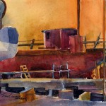 Drydock After Hours - plein air watercolor painting by Tony Conner
