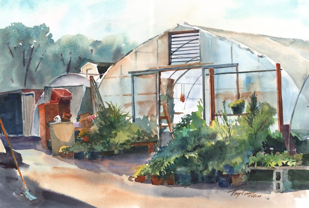 """The Back Lot"" – watercolor plein air landscape painting"
