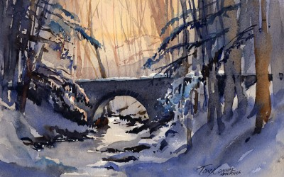 """Background Glow"" – Light and a bridge in a snowy landscape"
