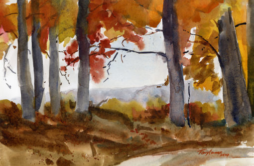 """Good In Gold"" - watercolor plein air landscape painting by Vermont artist Tony Conner"