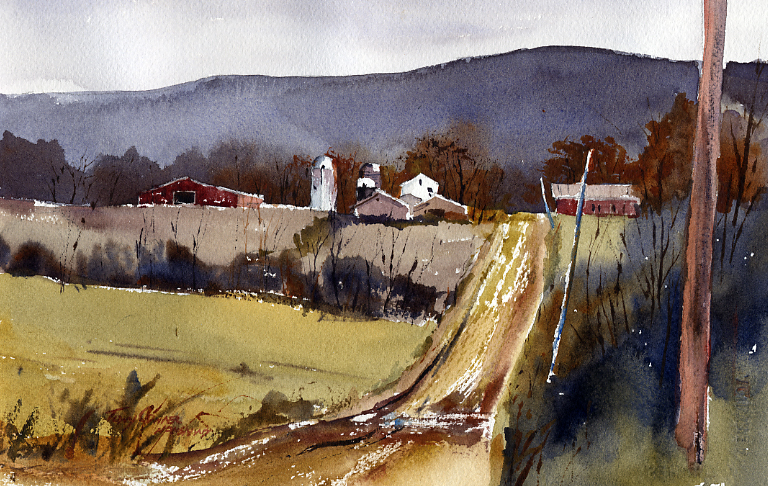 Low Key - watercolor plein air painting by Tony Conner