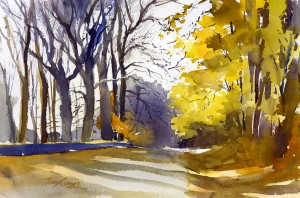 The Last Glow - watercolor plein air landscape painting by Tony Conner