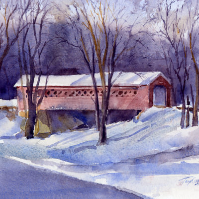 8AM - watercolor plein air landscape painting by Tony Conner