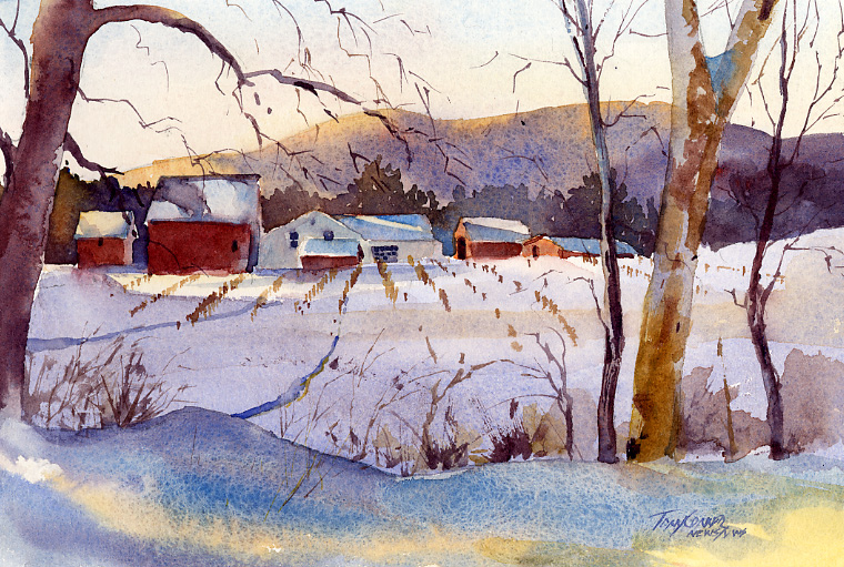 """Golden Blue"" – Early Sun On Snow Landscape Painting"