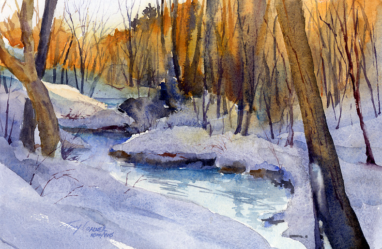 Quiet - watercolor plein air landscape painting by Tony Conner