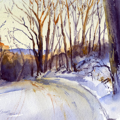 Snow Covered - watercolor plein air landscape painting by Tony Conner