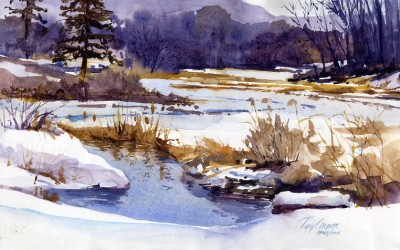 """Winter Pond"" – Plein Air Landscape Painting"