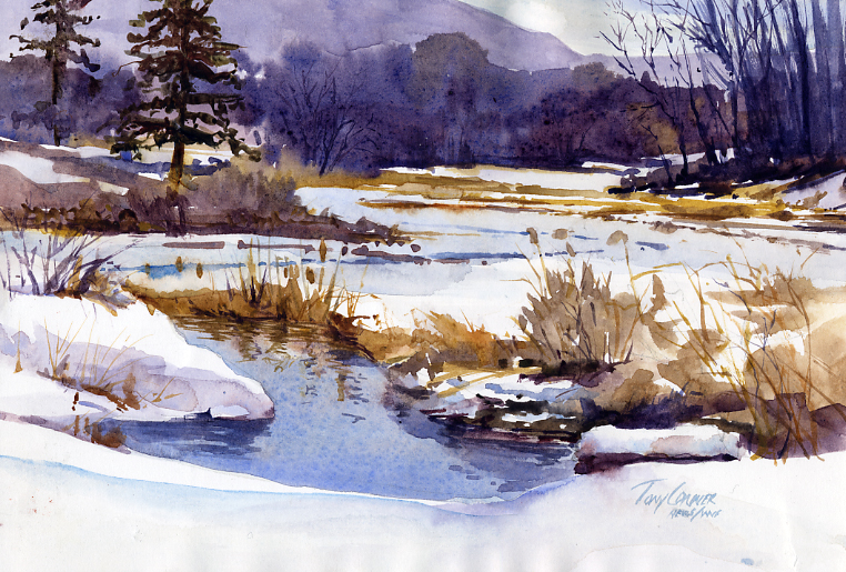 Winter Pond Plein Air Landscape Painting