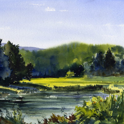 Millers Pond Morning - watercolor plein air landscape by Tony Conner