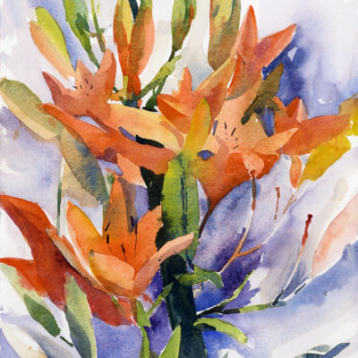 In The Garden - watercolor plein air floral painting by Tony Conner