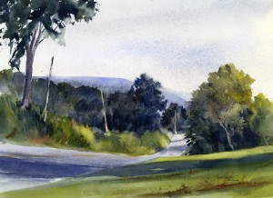 Northbound Lanes - en pleiin air landscape watercolor painting by Tony Conner