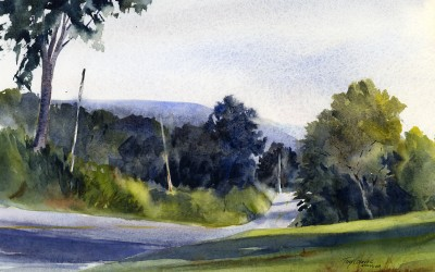 """Northbound Lanes"" – en plein air watercolor landscape painting"