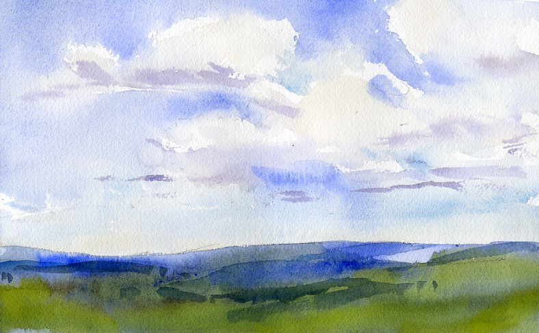 Sketch of the Day – Sky and Clouds in Watercolor