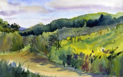 """Over Taraden Fields"" – watercolor plein air landscape painting"
