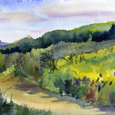 Over Taraden Fields - watercolor plein air landscape painting by Tony Conner