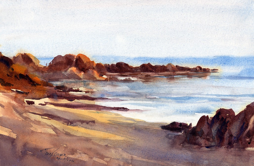 """Beach Shadows"" – watercolor seascape painting"