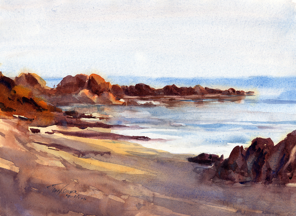 Beach Shadows Watercolor Seascape Painting By Tony Conner