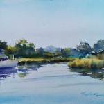 Crabtown Creek - en plein air watercolor seascape painting by Tony Conner
