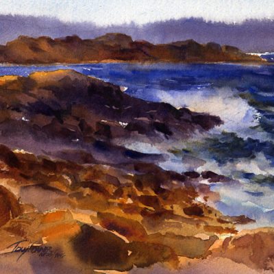 """Evening Surf, Bass Rocks"" - plein air watercolor seascape by Tony Conner"