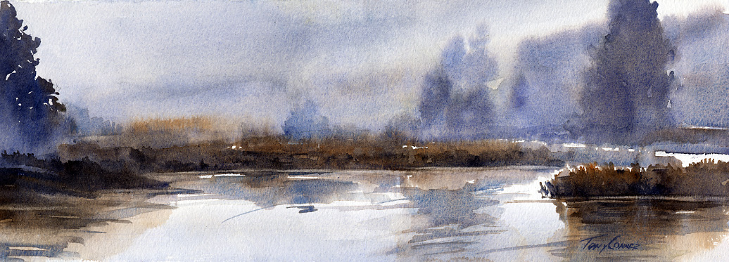 Marsh Fog - watercolor plein air landscape painting by Tony Conner