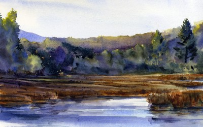 """Marsh Morning"" – en plein air landscape painting"