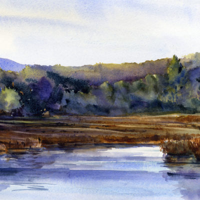 Marsh Morning - watercolor en plein air landscape painting by Tony Conner