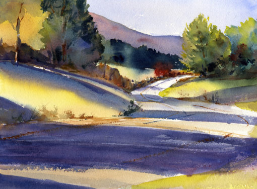 Old Depot Road - en plein air watercolor landscape painting by Tony Conner