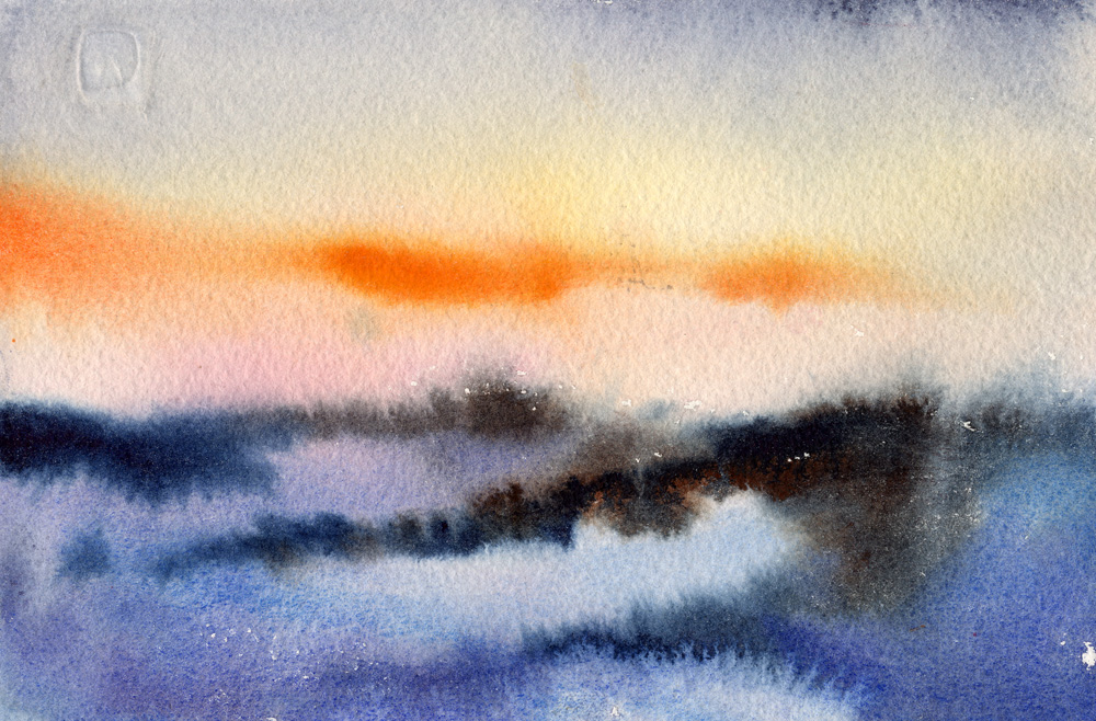 Sunrise, Winter Morning - watercolor landscape painting by Tony Conner