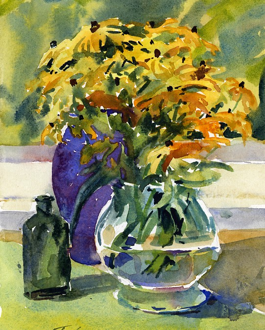 """Vase of Black-Eyed Susans"" – watercolor still life painting"