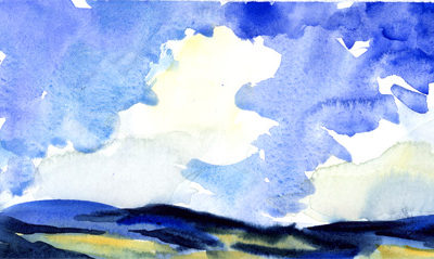 """Clouds & Sun II"" – watercolor skyscape painting"