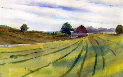 """Open Fields"" – farm country watercolor landscape painting"