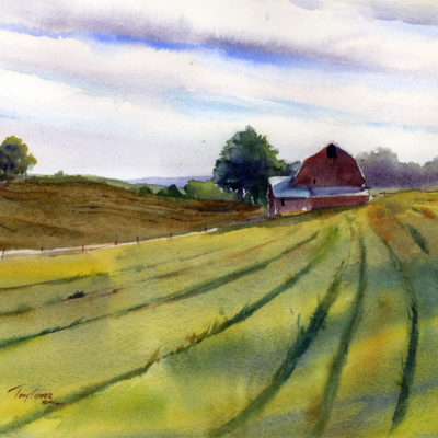 Open Fields - watercolor landscape painting by Tony Conner
