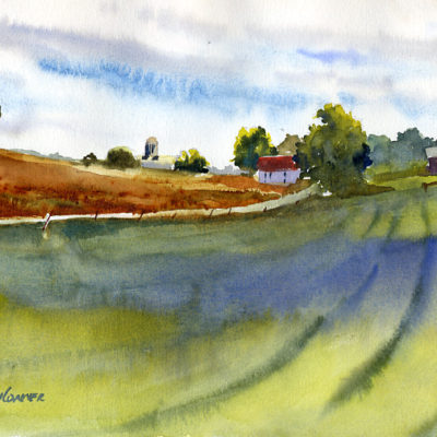 Upland Farm - plein air watercolor sketch by Tony Conner
