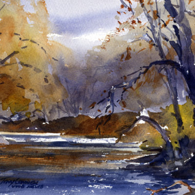 Banks Of The Walloomsac - watercolor plein air painting by Tony Conner