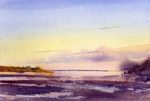 Ipswich River At Sunrise - watercolor en plein air seascape by Tony Conner