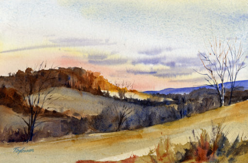Boxing Day - watercolor en plein air landscape by Tony Conner