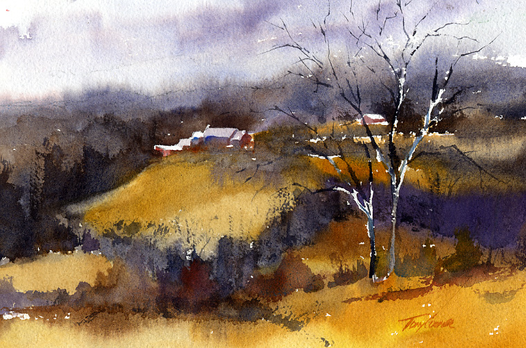 Solstice Day - watercolor en plein air landscape painting by Tony Conner