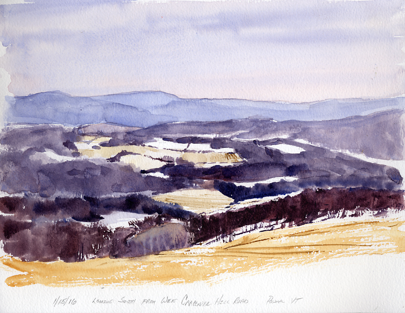 Looking South From Carpenter Hill Road - watercolor en plein air sketch by Tony Conner
