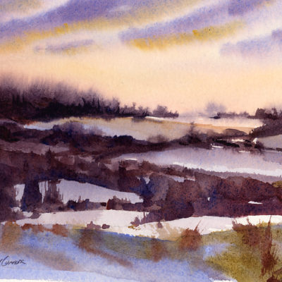 At Sunset - en plein air watercolor landscape painting by Tony Conner