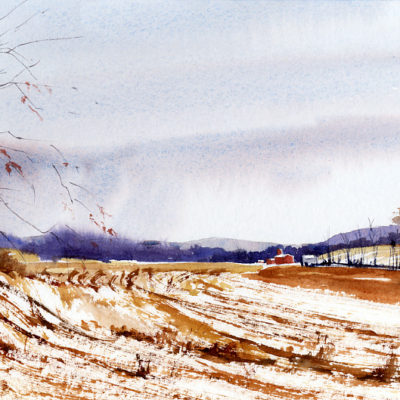 Flatland - en plein air watercolor landscape painting by Tony Conner