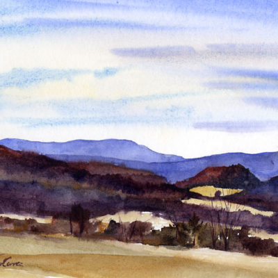 Little HIll - en plein air watercolor landscape painting by Tony Conner